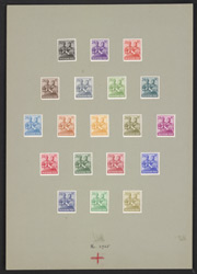 Germany: Allied Occupation: American, British and Soviet Zones 1947-48 24 pfennig, nineteen colour trials with uncleared background. Mounted on card.